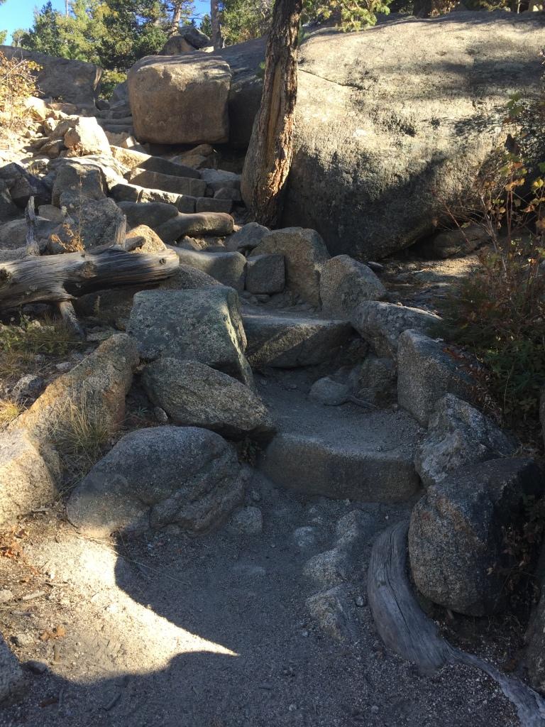 Stairs climbing up to Gem Lake