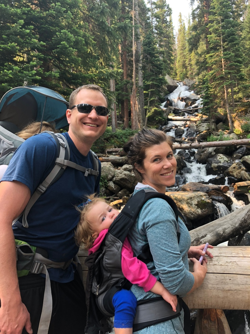 family hike in rocky mountain national park