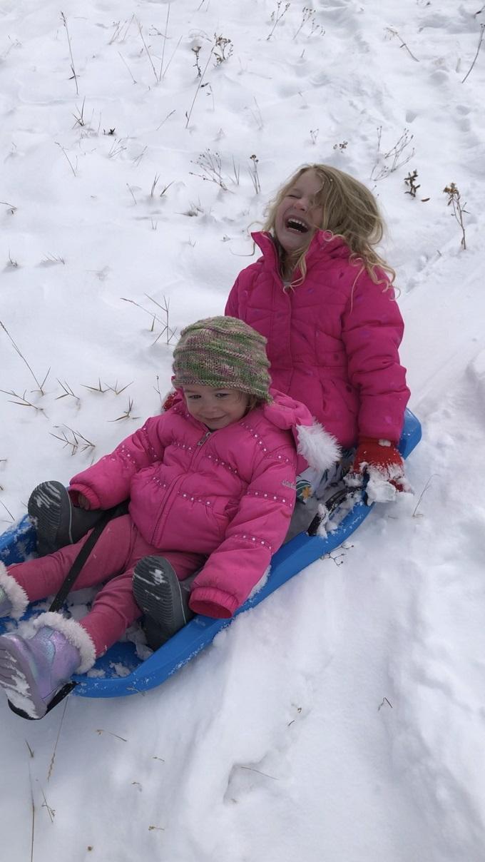 sledding joy in rocky mountain national park