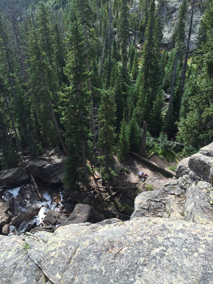 Views from the top of Ouzel Falls in Rocky Mountain National Park