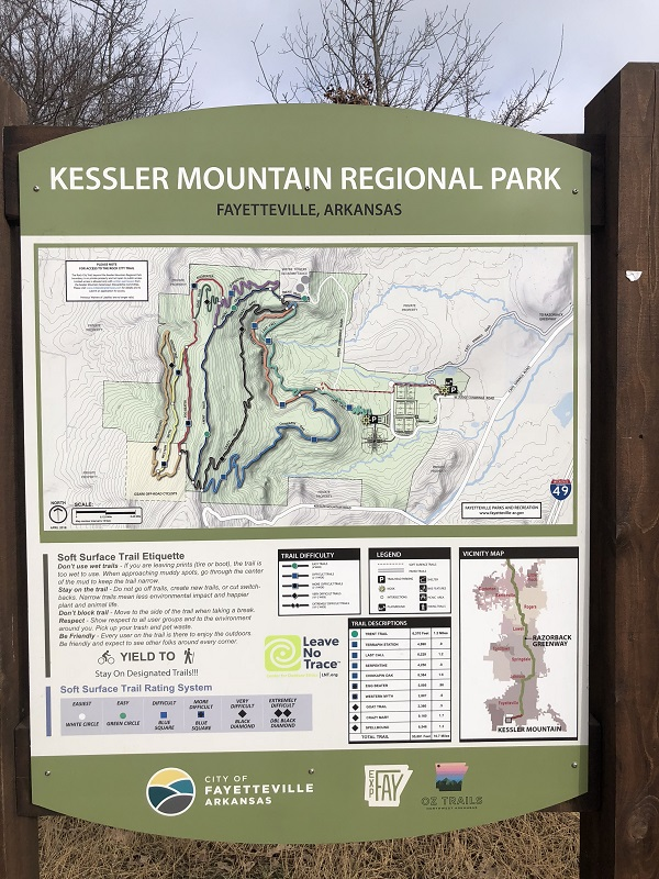 Kessler Mountain Regional Park in Fayetteville Arkansas. Hiking.