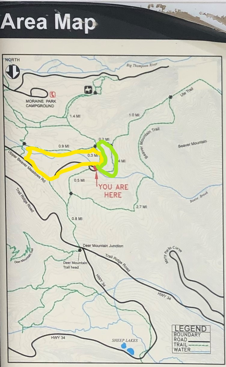 Upper Beaver Meadows trail map provided at trailhead by national park service