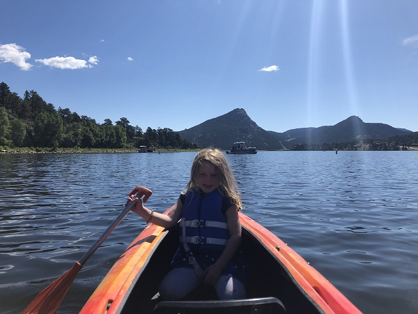 We rented 2-person kayaks for an hour at Lake Estes Marina.