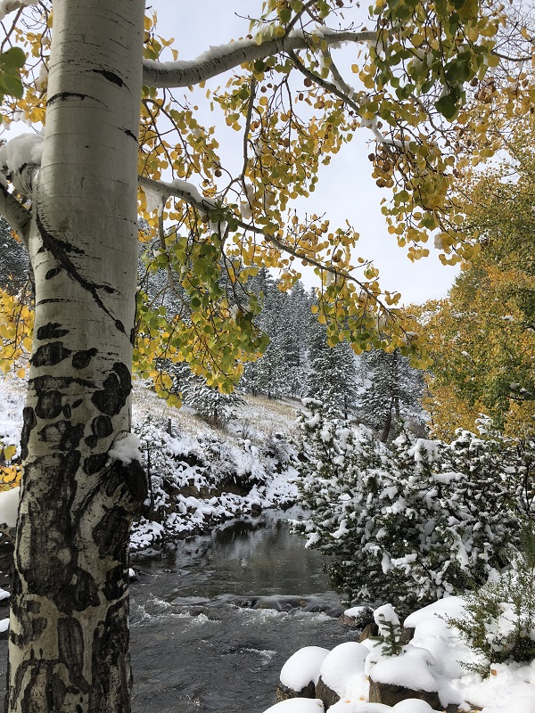 October snow - walking along Estes Park Riverwalk