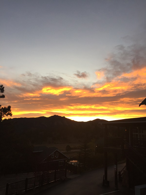 Sunrise from Mary's Lake resort in Estes Park, CO