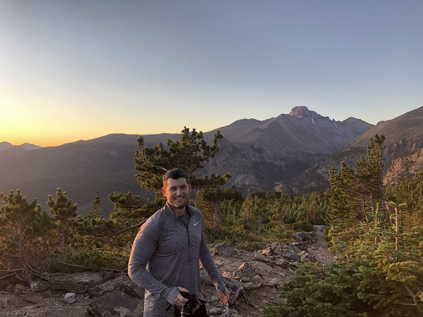 My brother hiking to Hallett Peak in Rocky Mountain National Park