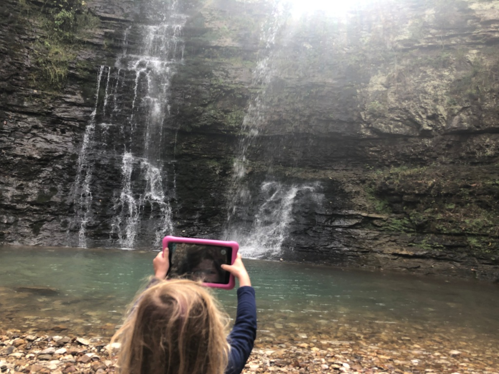 twin falls (also known as triple falls) near ponca and jasper, buffalo river area hike. waterfall hike. short and family friendly hike in arkansas.
