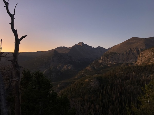 Sunrise view of Longs Peak from Flattop Trail in Rocky Mountain National Park