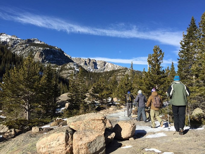 Winter hike up to Mills Lake in RMNP. Rocky Mountain National Park