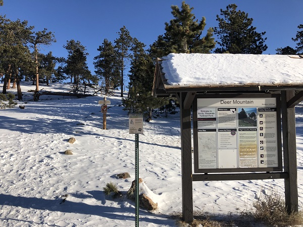 Deer Mountain trailhead in snow