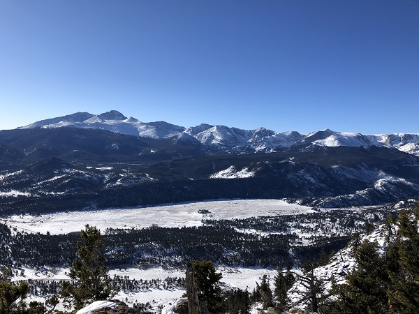 Views from summit of Deer Mountain in Rocky Mountain National Park in the winter.