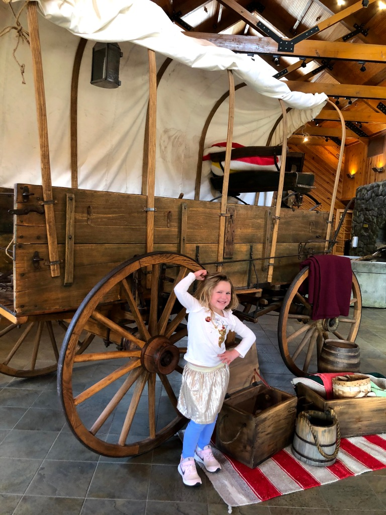 Covered wagon exhibit at Lake Fort Smith Visitor Center