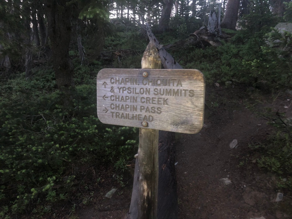 Chapin, Chiquita, Ypsilon Summits. Chapin creek. Chapin Pass Trailhead