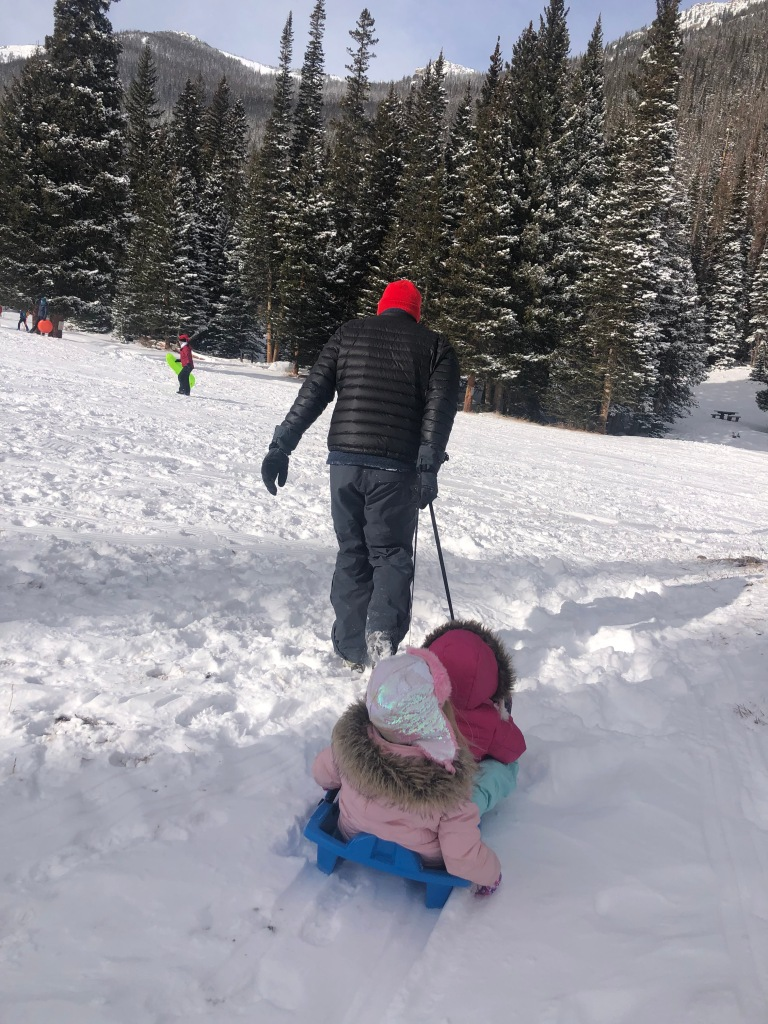 Sledding in Rocky Mountain National Park